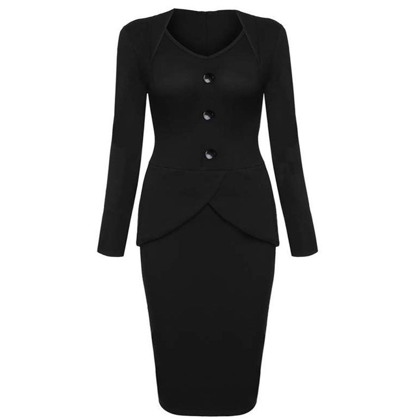 Cyber ANGVNS Long Sleeve High Waist Solid Stretch Office WorkBusiness Party Bodycon Women - Dresses (Black)