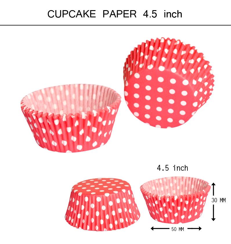 "Cup cake 4.5"" (ลายจุดขาวพื้นแดง)100p"