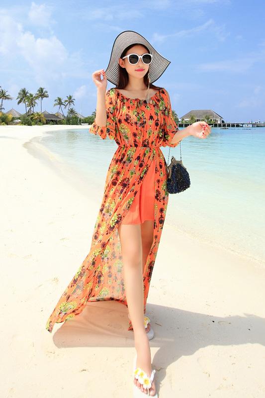 MAXI DRESS ชุดเดรสยาว พร้อมส่ง สีส้ม แขนสามส่วน โชว์ไหล่เซ็กซี่ เอวยางยืด ผ้าชีฟองลายแอ็คเซสเซอร์รี่