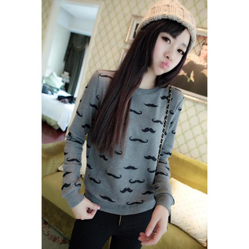 LALANG เสื้อยืดแขนยาว พิมพ์ลาย สำหรับผู้หญิง สี Dark Grey