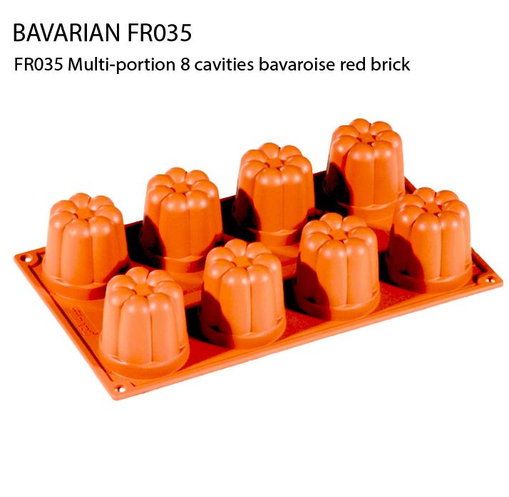 FR035 Multi-portion 8 cavities bavaroise red brick