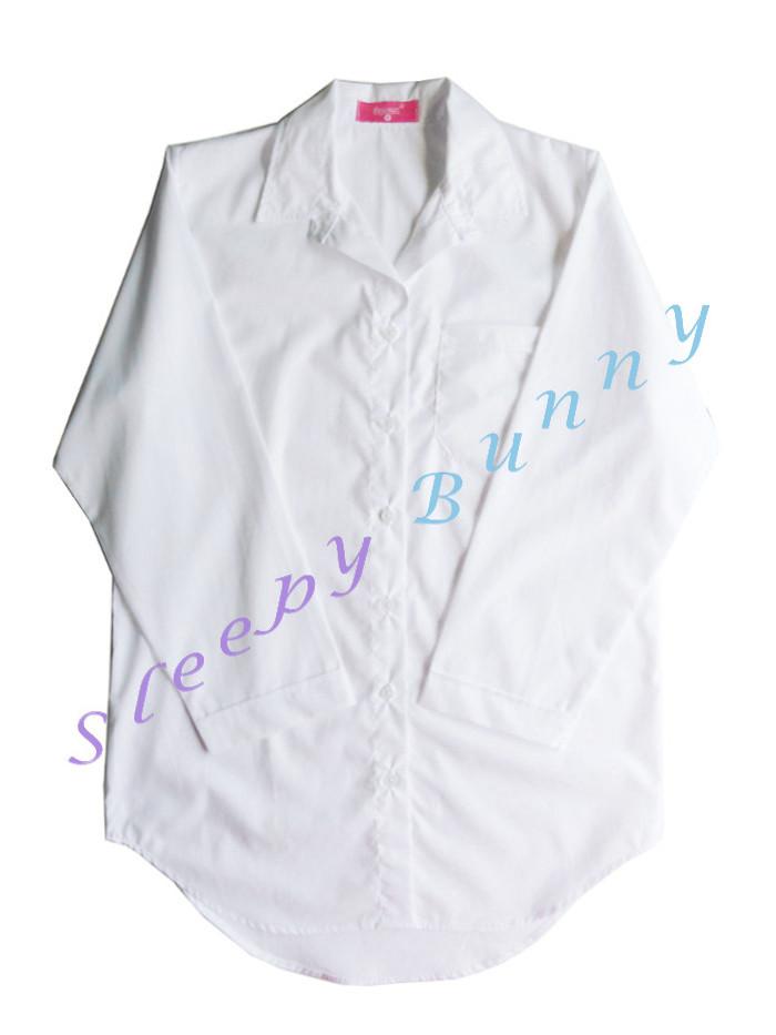 ds38 lot4 ชุดนอนเดรสเชิ้ตสีขาวออฟไวท์ พร้อมส่ง Size S,M --> Pajamazz