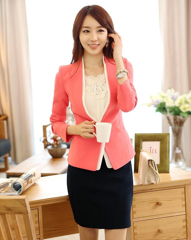 เสื้อสูทแฟชั่น พร้อมส่ง คอจีน สีชมพู แขนยาว ด้านหน้าแต่งผ้าสีขาวไว้ด้านใน ใส่ทำงานได้