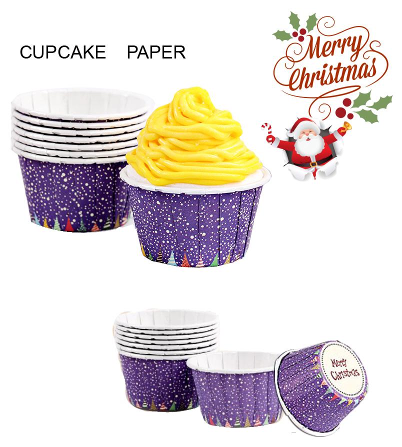 ถ้วยคัพเค้กลายหิมะ สีม่วง Merry Christmas CUPCAKE (1*50)