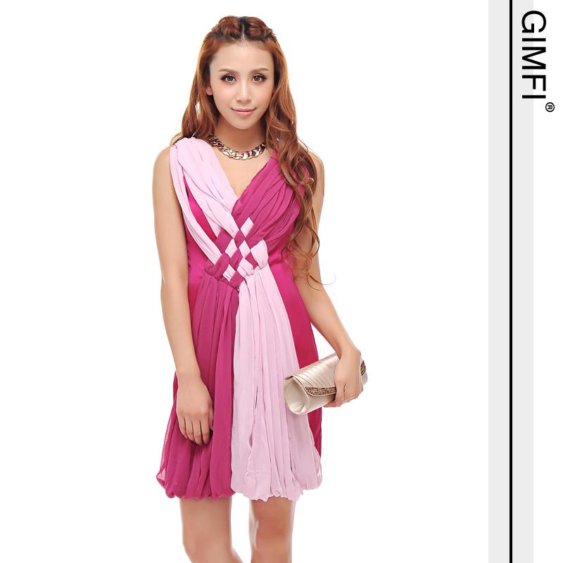dress ชุดเดรสคอวี ใส่ออกงาน แขนกุด ผ้าชีฟอง + ผ้าซาติน สีบานเย็น น่ารัก ใส่ไปงานแต่ง สวยมาก Asia Street Fashion