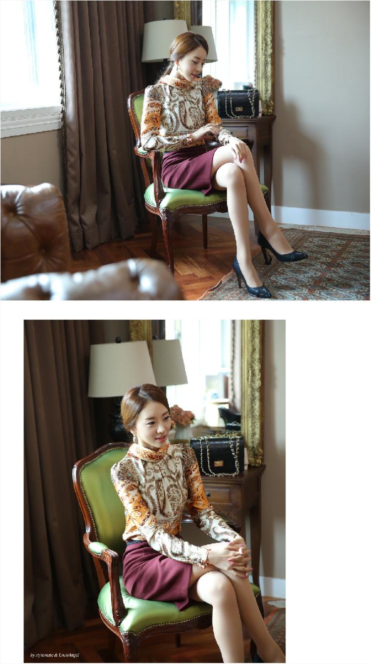 เสื้อทำงานผู้หญิงสีครีม สวยหรู คอเต๋า แขนยาว ผ้าซาติน