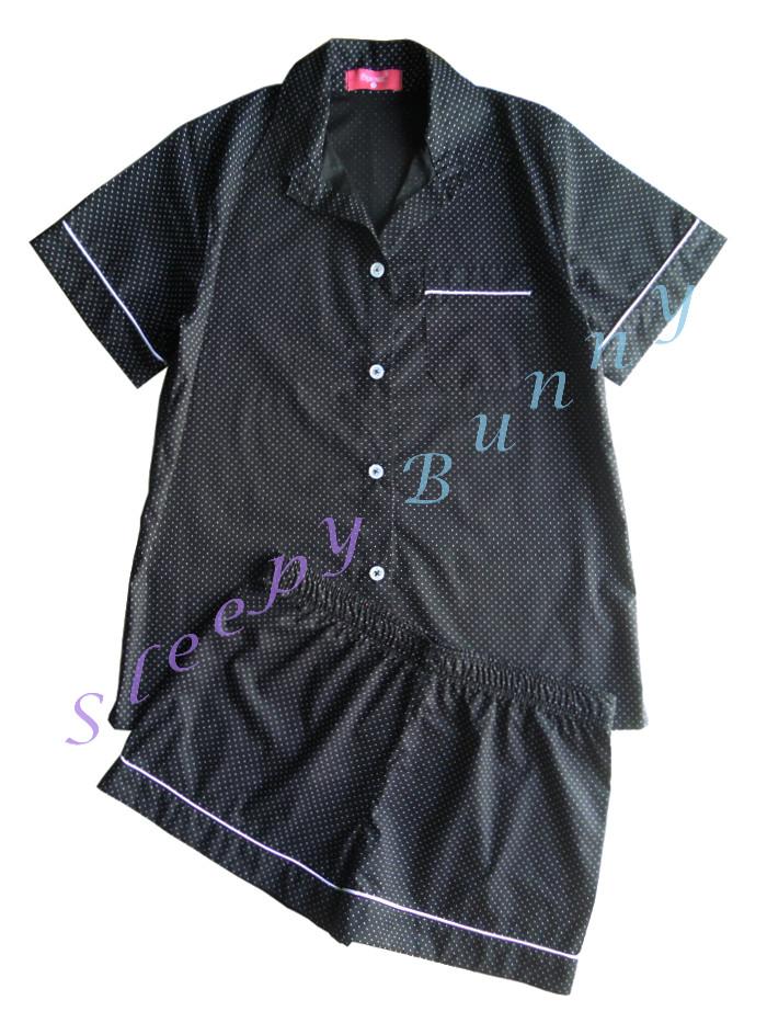sb1 set สีดำลายจุดขาว ชุดนอนเสื้อเชิ้ตแขนสั้น (Size M) + กางเกง (Size L) --> Pajamazz