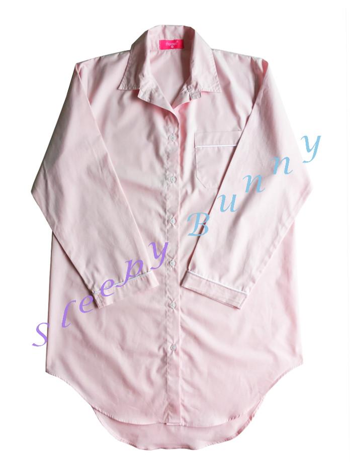 ds69 ชุดนอนเดรสเชิ้ตสีชมพูอ่อน พร้อมส่ง Size S,M --> Pajamazz