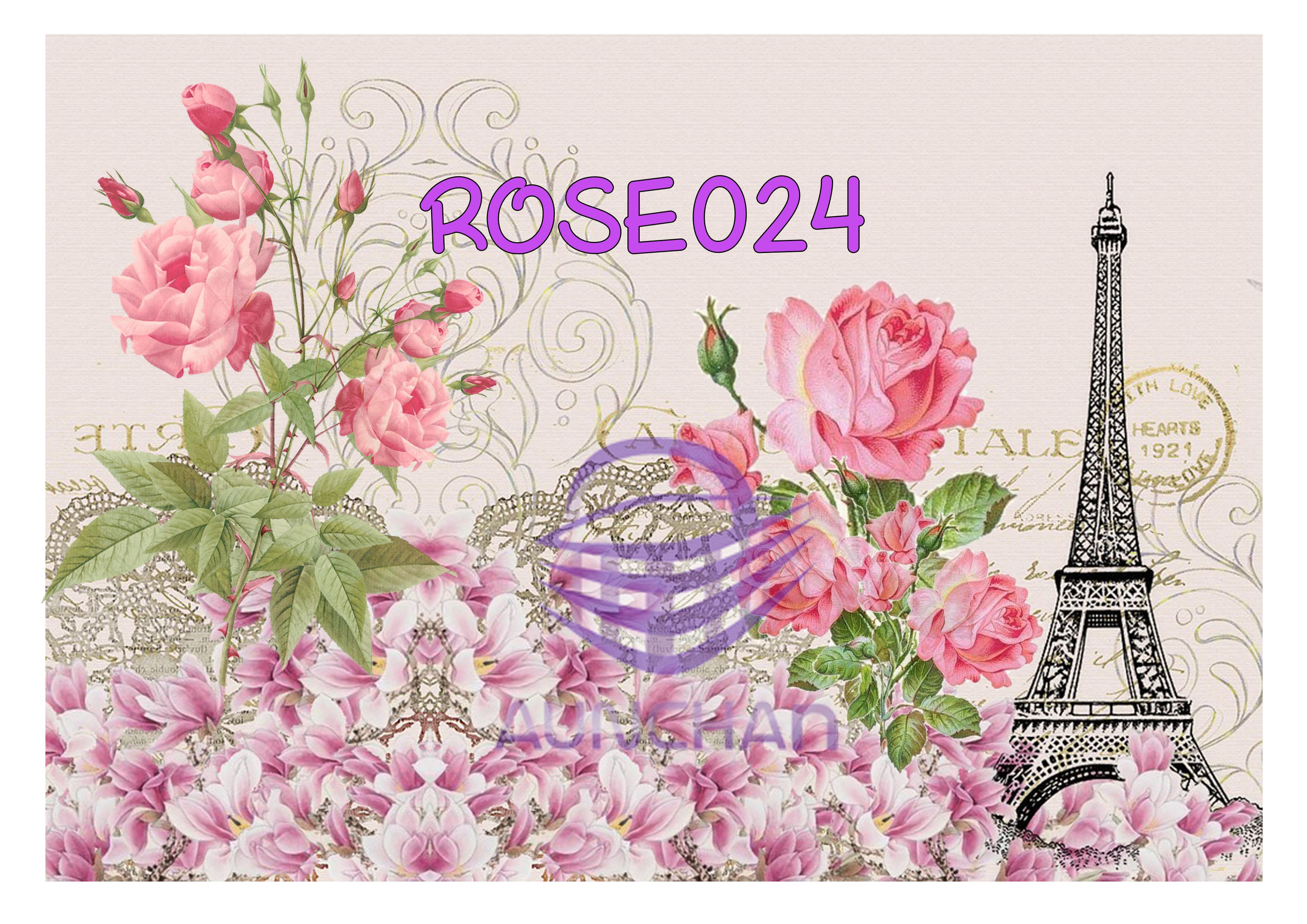 ROSE024 กระดาษแนพกิ้น 21x30ซม. ลายกุหลาบ
