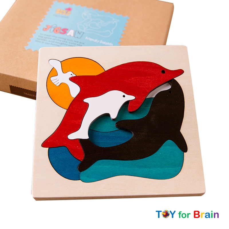 Uncle Wood - 3 layer Jigsaw Puzzle 'Friendly Dolphin' ตัวต่อจิ๊กซอว์ไม้-ปลาโลมา