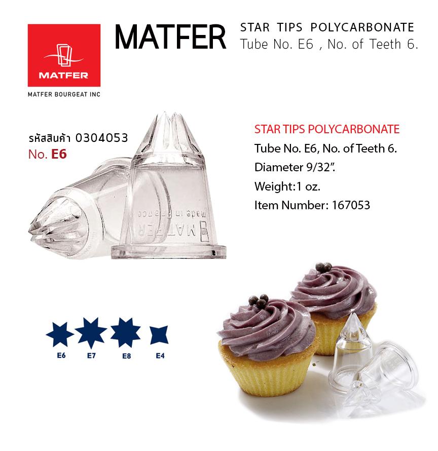 Matfer E6 Polycarbonate Fluted Nozzle (6 teeth, Ø 13mm) 167053