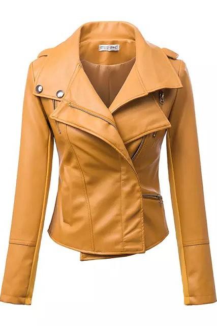 เสื้อแจ็คเก็ต เสื้อหนังแฟชั่น พร้อมส่ง สีเหลือง คุณภาพดีมาก งาน Premium Quality สินค้าสวยหนังดี