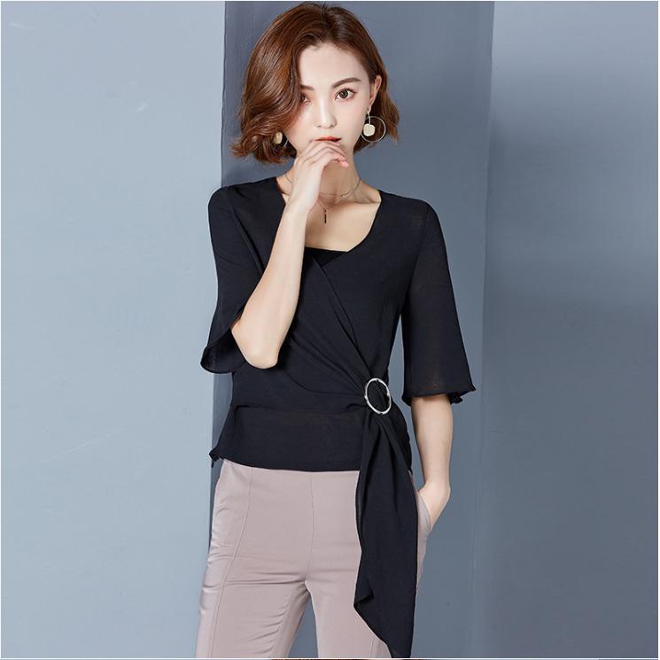 เสื้อทำงานสีดำ แขนสั้น ผ้าชีฟอง สวยเท่ ดูดี เรียบร้อยสไตล์สาวออฟฟิศ