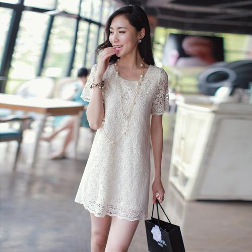 dress ชุดเดรสแฟชั่นผ้าลูกไม้ แขนสั้น สีครีม น่ารัก ใส่ทำงาน ใส่ไปงานแต่งงาน สวยมาก Asia Street Fashion