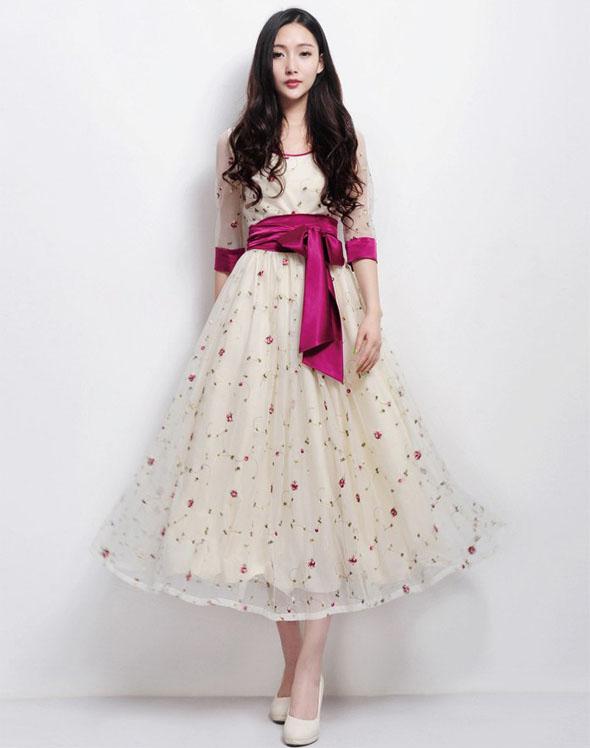 maxi dress เดรสยาว ออกงาน สีครีม จั๊มเอว ใส่ไปงานแต่งงาน น่ารัก สวยๆ