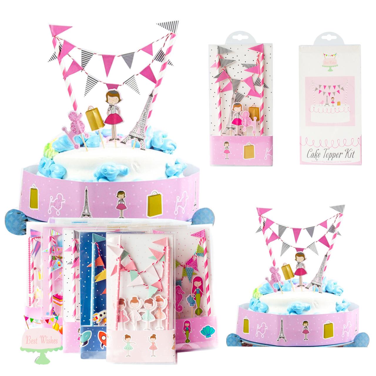 ชุดตกแต่งเค้ก แบบปัก รูป หอไอเฟลฝรั่งเศล (CAKE Topper Kit)