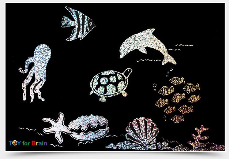 Scratch Cards- Underwater world ชุดศิลปะขูดพร้อม stencil