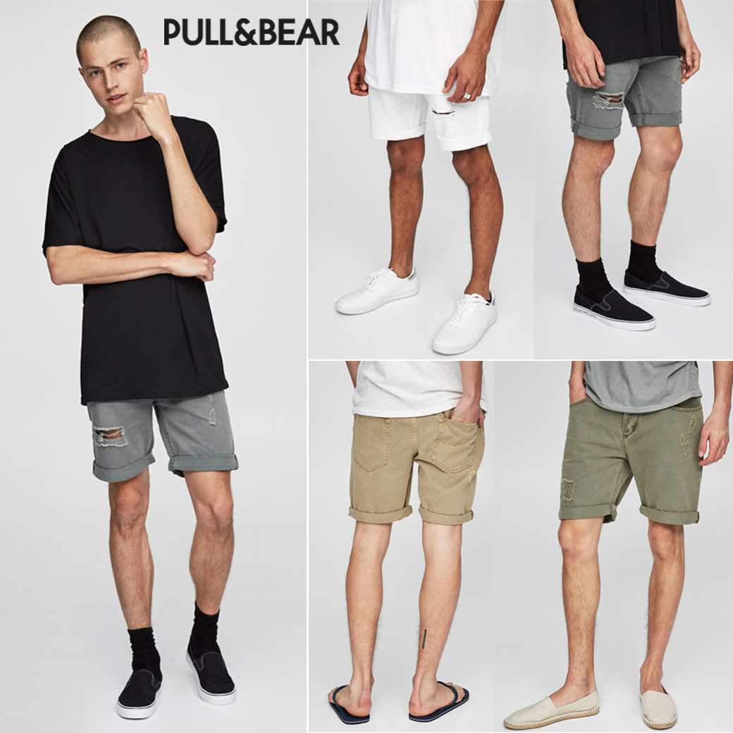 Pull & Bear Ripped Denim Shorts