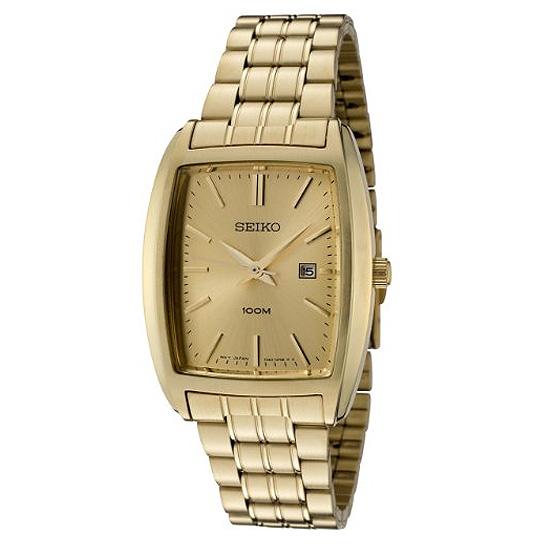 Seiko Men's SXD838P1 Gold Dial Gold-Tone Stainless Steel Watch