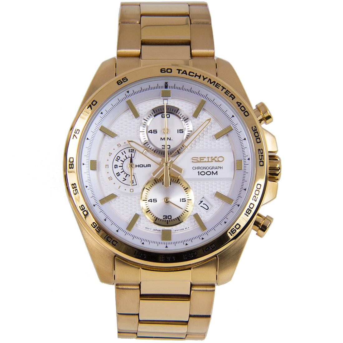SEIKO Sport นาฬิกาข้อมือผู้ชาย Chronograph สีทองหน้าปัดขาว รุ่น SSB286P1