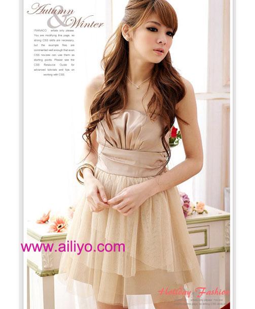 dress ชุดเดรสแฟชั่นเกาะอก ผ้าไหม + ผ้ามุ้ง สีแอพพริคอท ใส่ไปงานแต่งงาน น่ารัก Asia Street Fashion