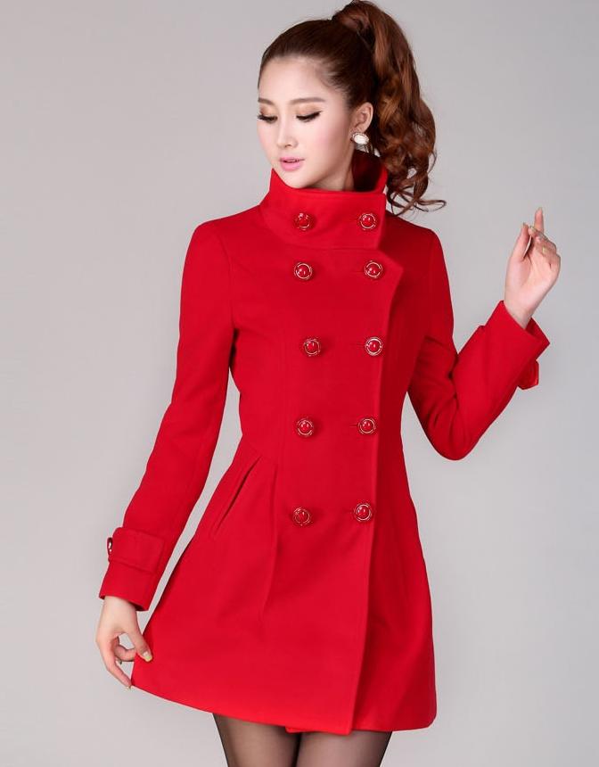 เสื้อโค้ทแฟชั่น พร้อมส่ง สีแดง ตัวยาว กระดุมหน้า 2 แถว ดีเทลสุดเก๋ๆ แต่งปลายแขนเท่ห์ ใส่ไปต่างประเทศได้
