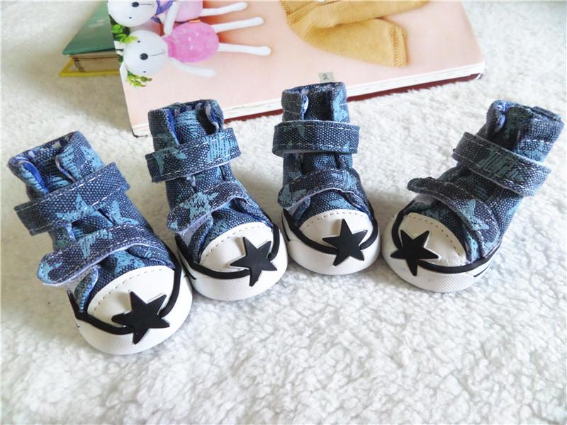 รองเท้าสุนัข รองเท้าแมว แบบผ้าใบ สีน้ำเงิน ลายดาว (4 ข้าง)
