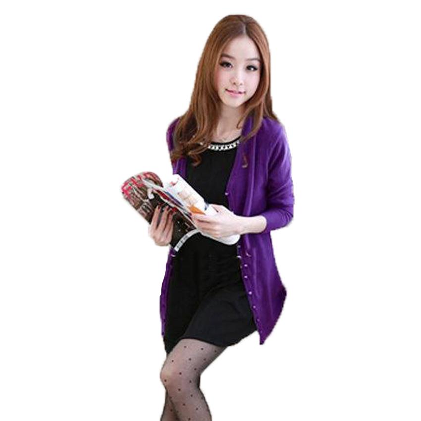 Fashion on art เสื้อพรมผ้าไหมแขนยาว - Purple