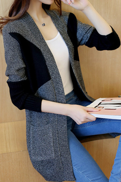 เสื้อคลุมแฟชั่น เสื้อคลุมกันหนาว พร้อมส่ง สีเทา ผ้าไหมพรมเนื้อหนา ใส่คลุมกันหนาวได้ค่ะ แต่งตัดด้วยสีดำสุดเท่ห์ มีความยืดหยุ่นได้ดี ตัวยาวคลุมสะโพก แขนยาว