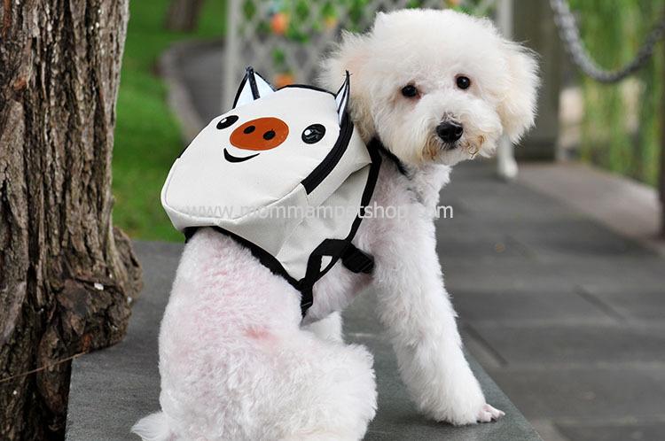 กระเป๋าเป้สุนัข กระเป๋าเป้แมว ลายหมูขาว