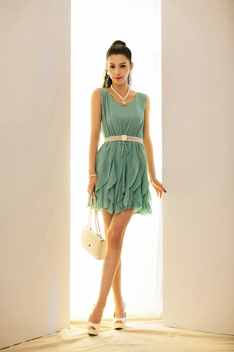 DRESS ชุดเดรสแฟชั่น ชุดทํางาน สีเขียว ผ้าชีฟอง ออกงาน น่ารัก งานคุณภาพจ้า
