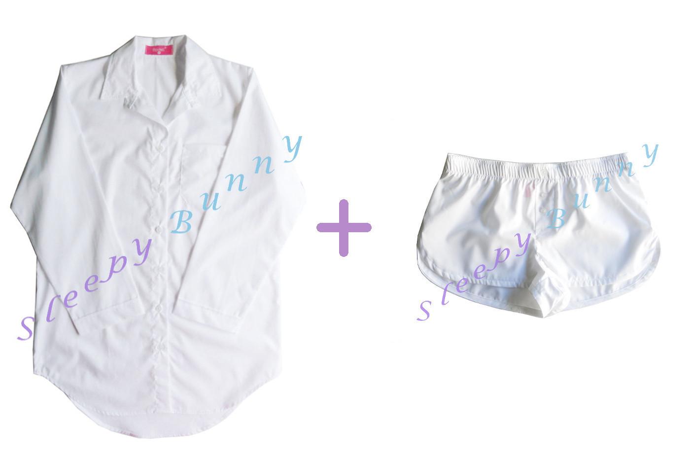 Promotion db5X set สีขาวออฟไวท์ไซส์ใหญ่ ชุดนอนเดรสเชิ้ต Size L + กางเกง boxer Size XL --> Pajamazz