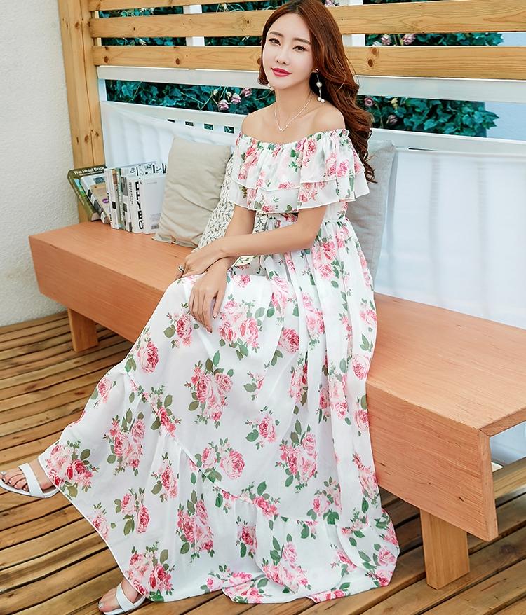 MAXI DRESS ชุดเดรสยาว พร้อมส่ง สีขาว ลายดอกกุหลาบหวาน น่ารักมากๆค่ะ