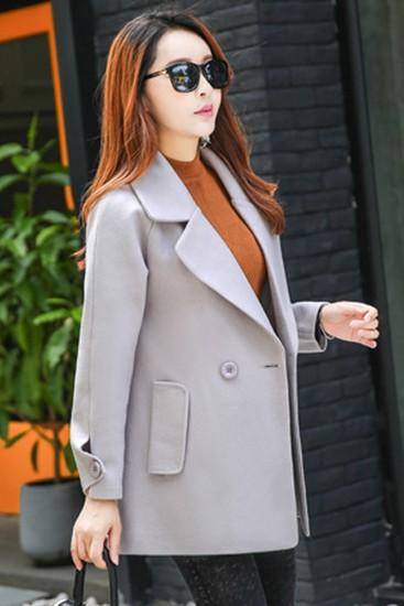 เสื้อโค้ทแฟชั่น Overcoat พร้อมส่ง สีเทา คอปก สุดเท่ห์ แต่งสายคาดเอวด้านหลัง กระดุมหน้าเก๋ คัตติ้งสวย เนื้อผ้าดีมากค่ะ
