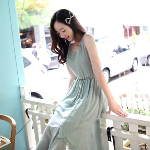 MAXI DRESS ชุดเดรสยาวผ้าชีฟอง โทนสีเขียว แฟชั่นใส่เที่ยว ใส่ทำงาน สวยน่ารักมากๆ