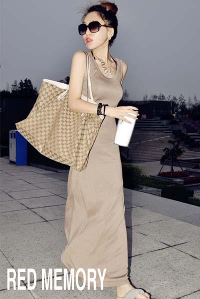 MAXI DRESS ชุดเดรสยาวใส่เที่ยว ทำงาน สีน้ำตาล แขนกุด เปิดหลัง ใส่ออกงานได้ เซ็กซี่ น่ารักๆ ASIA STREET FASHION