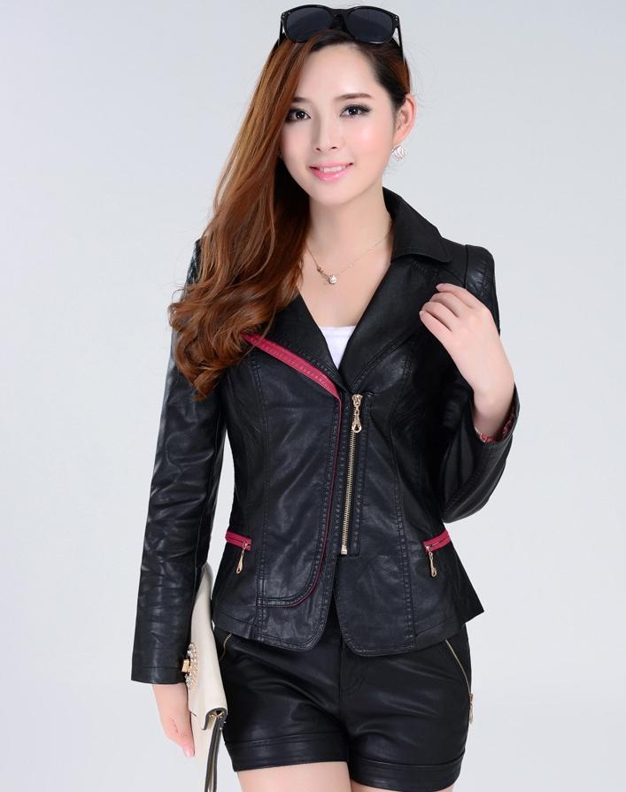 เสื้อแจ็คเก็ต เสื้อหนังแฟชั่น พร้อมส่ง สีดำ คอปกแต่งขลิบสีชมพู เข้ารูป สุดเท่ห์
