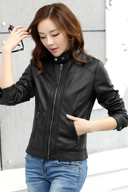 เสื้อแจ็คเก็ต เสื้อหนังแฟชั่น พร้อมส่ง สีดำ คอจีน แต่งสายรัดคอ หนังด้าน ดีเทลซิบรูดเก๋ กระเป๋าใช้งานได้ สุดเท่ห์