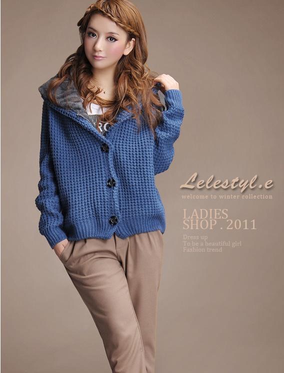 fashion เสื้อกันหนาวไหมพรม แฟชั่น มีฮู้ด สีน้ำเงิน น่ารักๆ