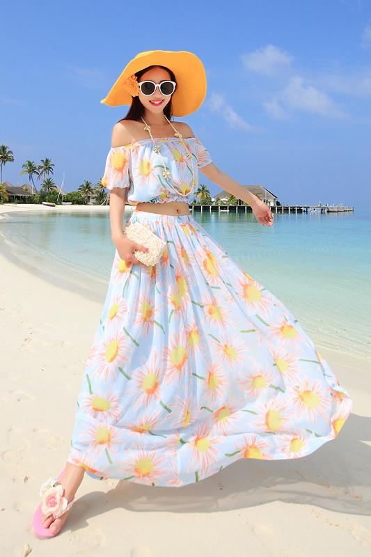 ชุดเซ็ตคู่ เสื้อ+กระโปรง MAXI DRESS ชุดเดรสยาว พร้อมส่ง ชุดสีฟ้า พิมพ์ลายดอกทานตะวันสีส้มสวย แขนตุ๊กตา เอวลอย ผ้าชีฟองทิ้งตัว