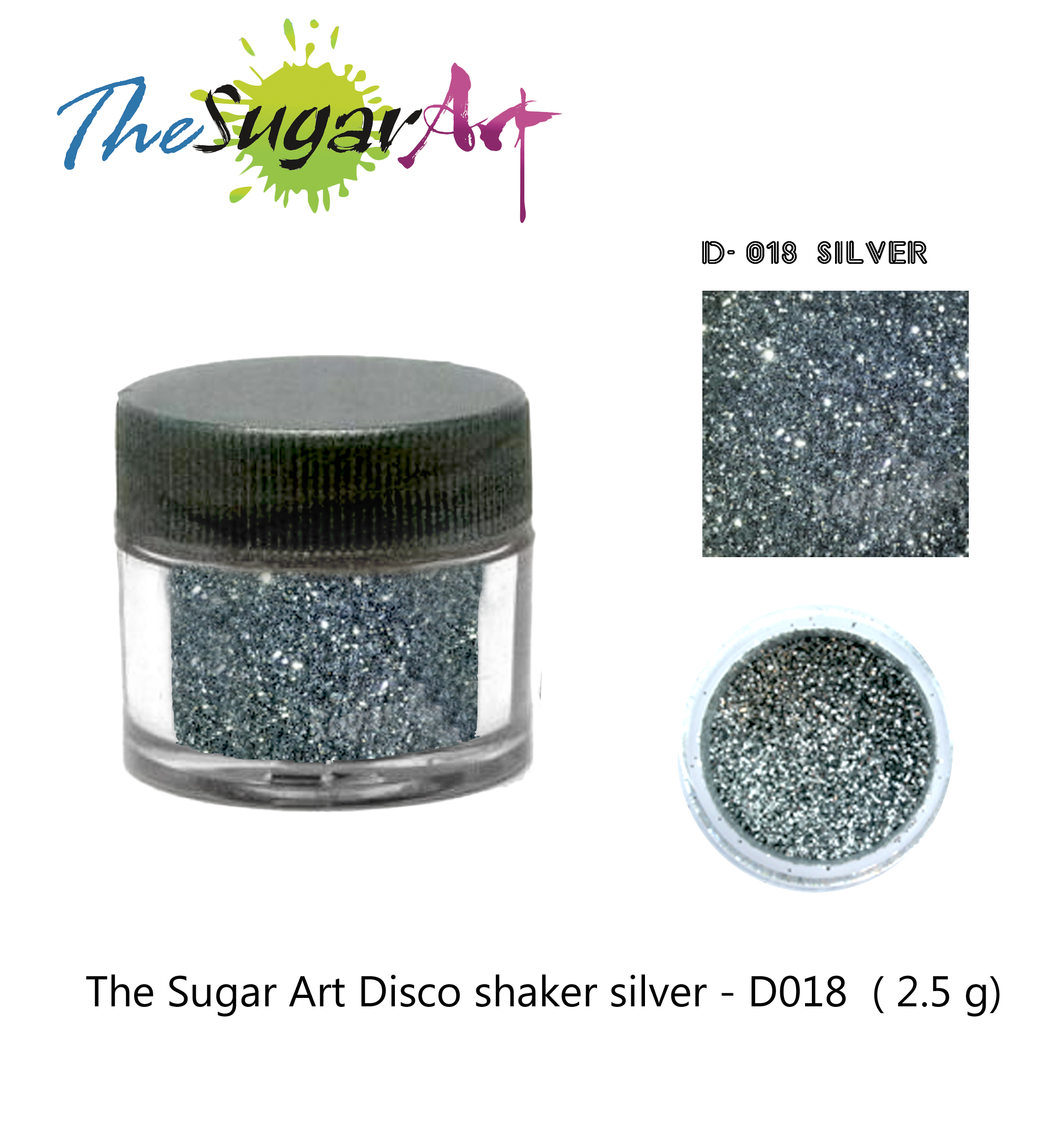 The Sugar Art Disco shaker silver - D018 ( 2.5 g)