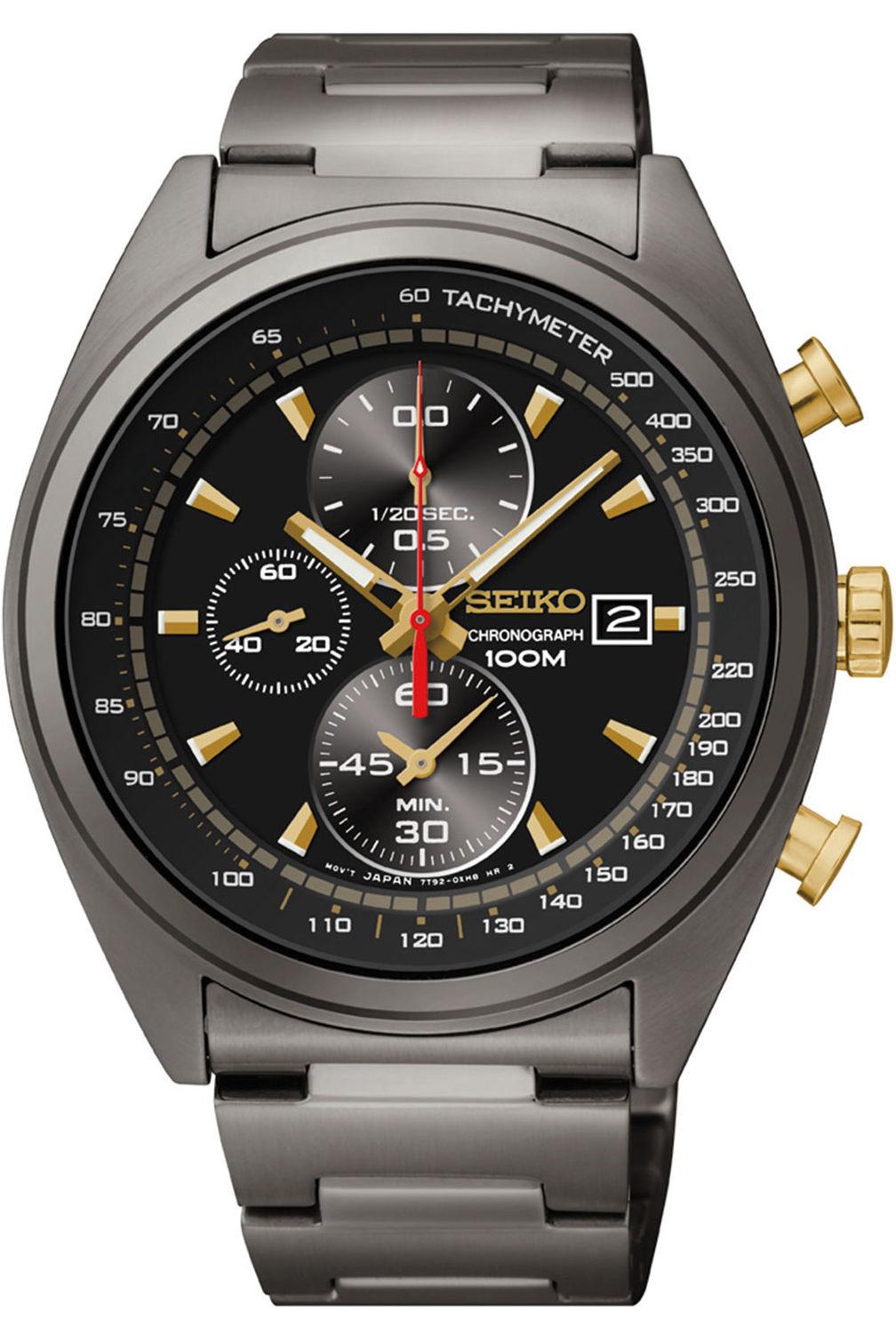 Seiko Men's SNDF91P1 Chronograph Black/Gold Dial Stainless Steel Watch
