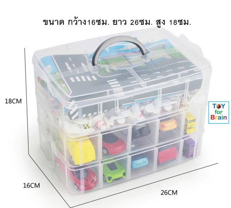 กล่องเก็บรถ hot wheels กล่องเก็บรถ Tomica กระเป๋าเก็บรถ 3 ชั้น พร้อมแผ่นถนนและเมือง 3 layer Car storage box with map