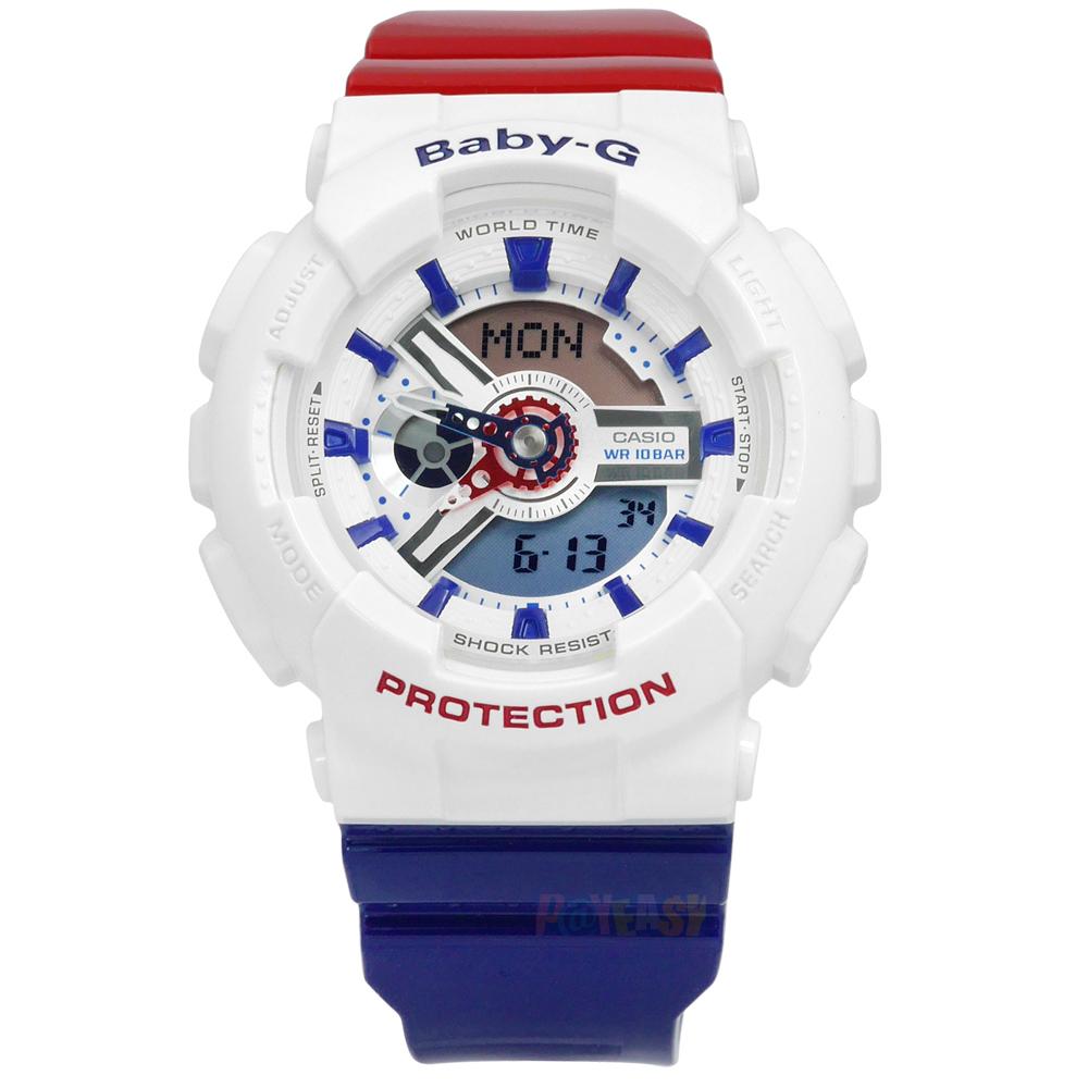 นาฬิกาผู้หญิง CASIO Baby-G White Tricolor series รุ่น BA-110TR-7A