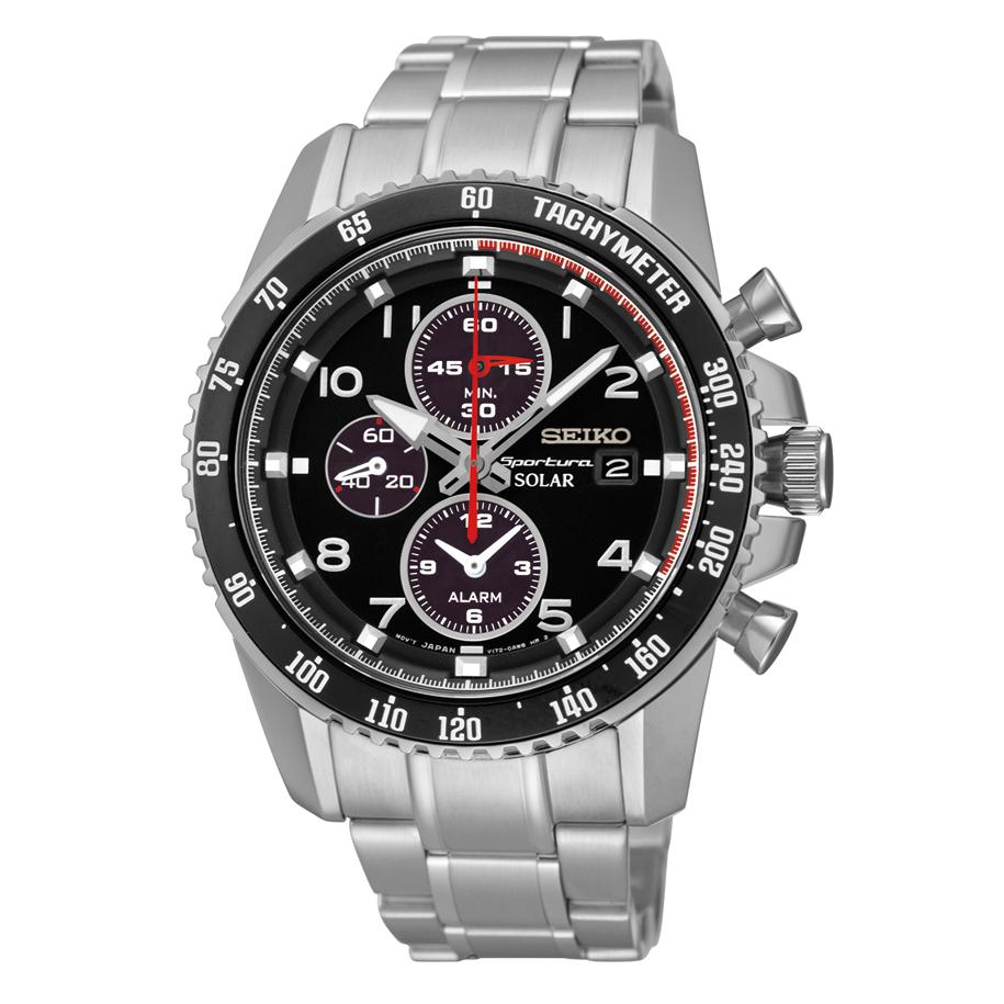 Seiko Sportura Solar Chronograph Black Dial Stainless Steel Mens Watch SSC271