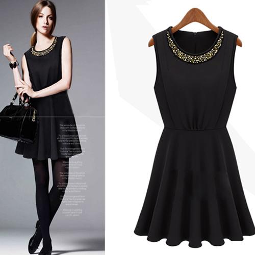 dress ชุดเดรสแขนกุด สีดำ คอกลม แฟชั่นเกาหลี สาวมั่น ใส่ทำงาน ผ้า Cotton แต่งลูกปัด ดูดีมีสไตล์ Asia Street Fashion
