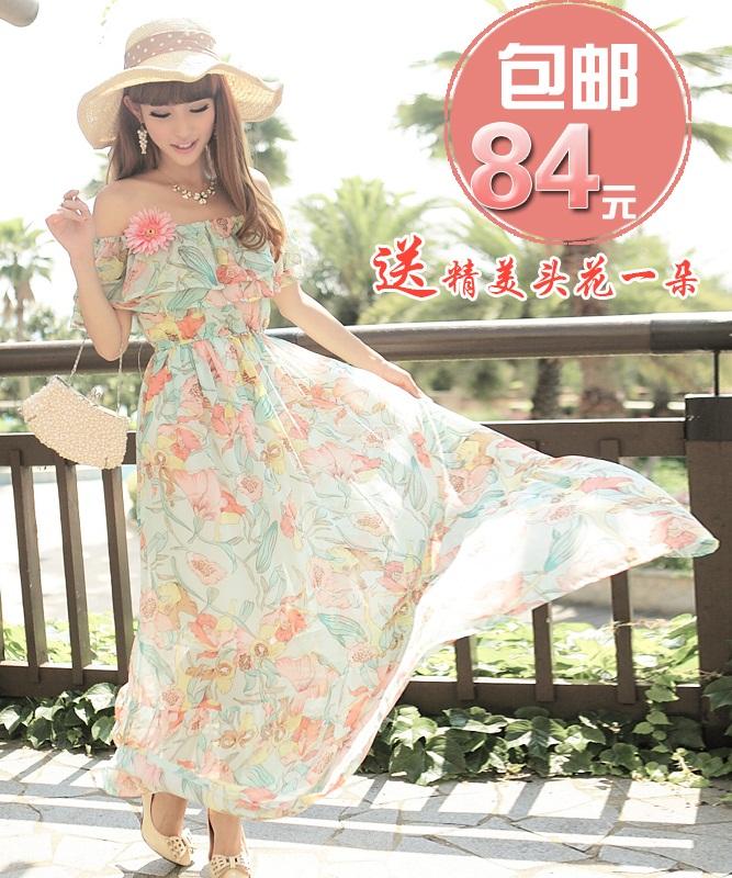 MAXI DRESS ชุดเดรสยาว พร้อมส่ง ผ้าชีฟอง ลายดอกไม้ โทนเขียว สวยมาก