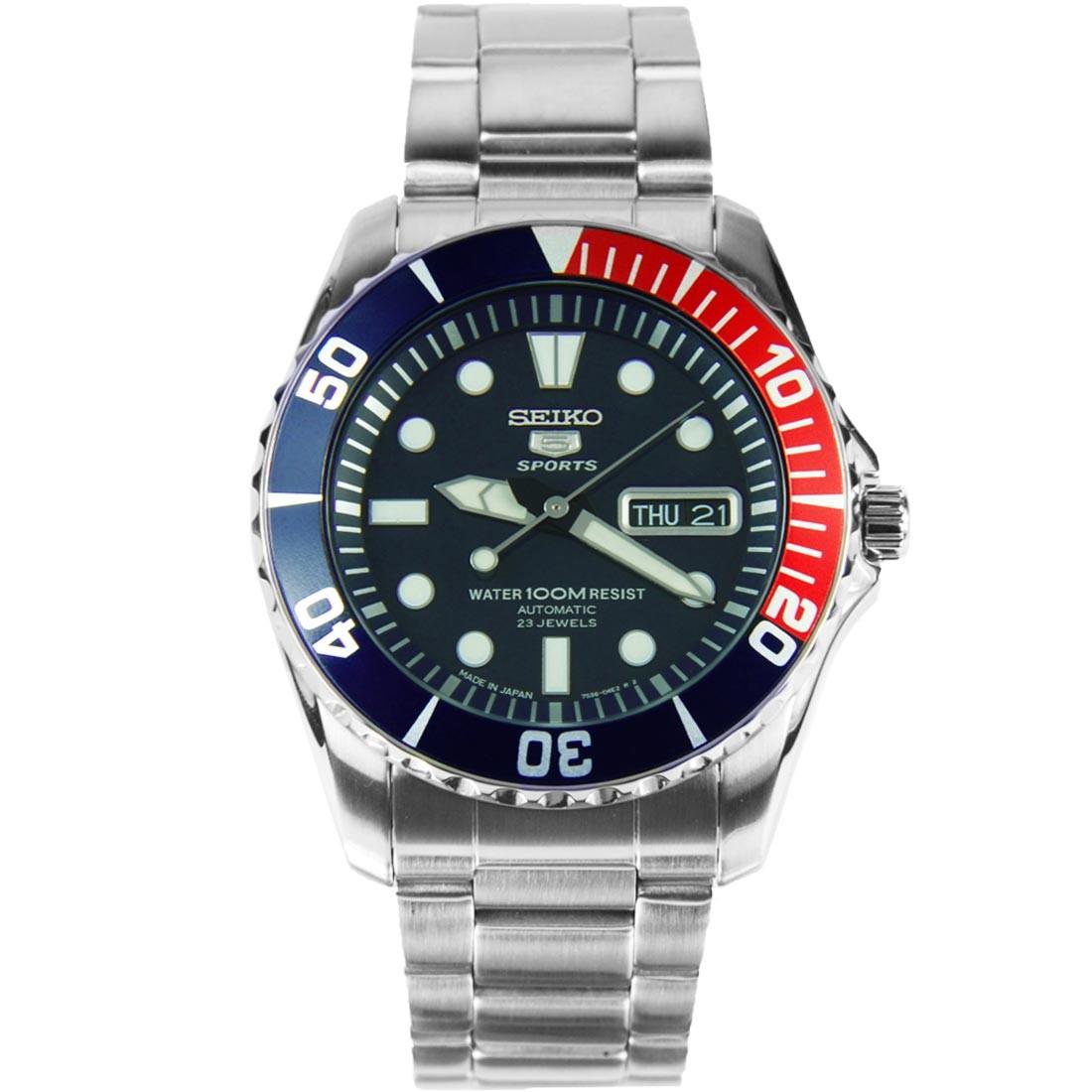 นาฬิกาข้อมือ Seiko 5 Sport Automatic รุ่น SNZF15J1 หน้าแป็ปซี่ Made in Japan