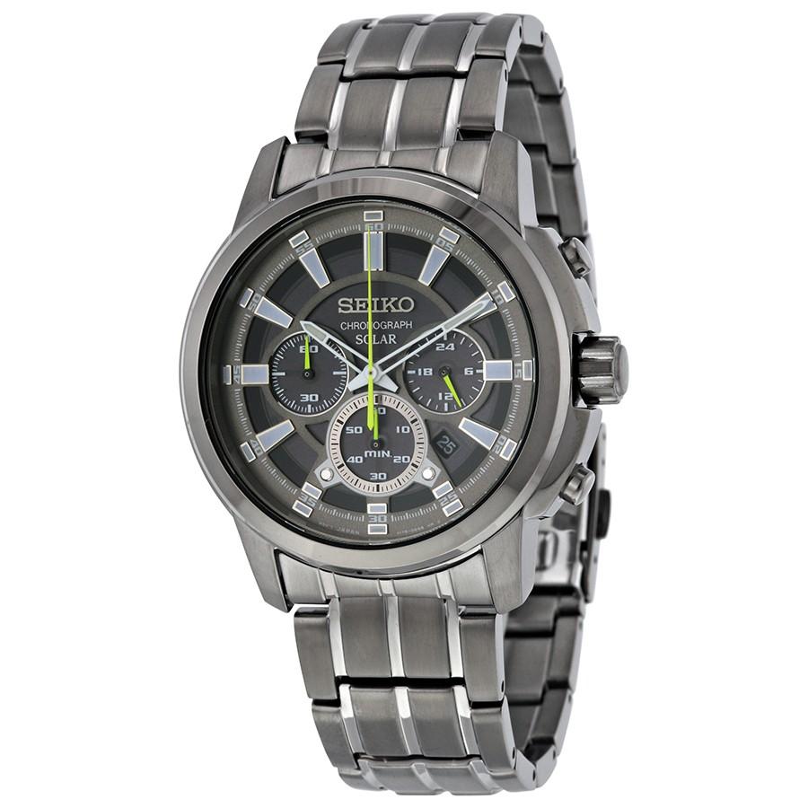 นาฬิกาข้อมือ Seiko Men's SSC391 RECRAFT Solar Chrono Analog Display Japanese Quartz Black Watch