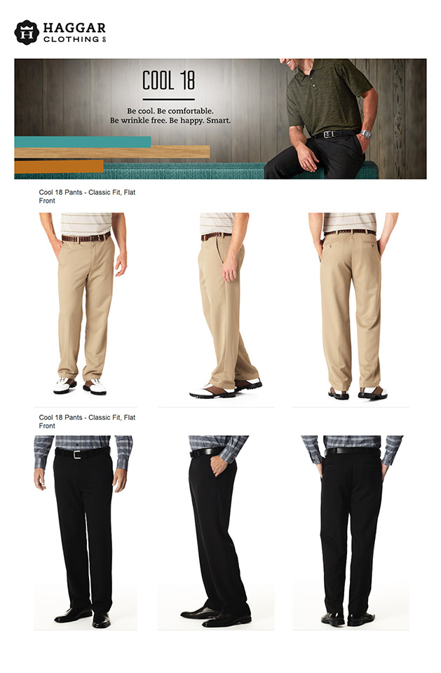 Haggar Cool 18 Flat-Front Expandable Waist Pants ( ไม่มีจีบ )